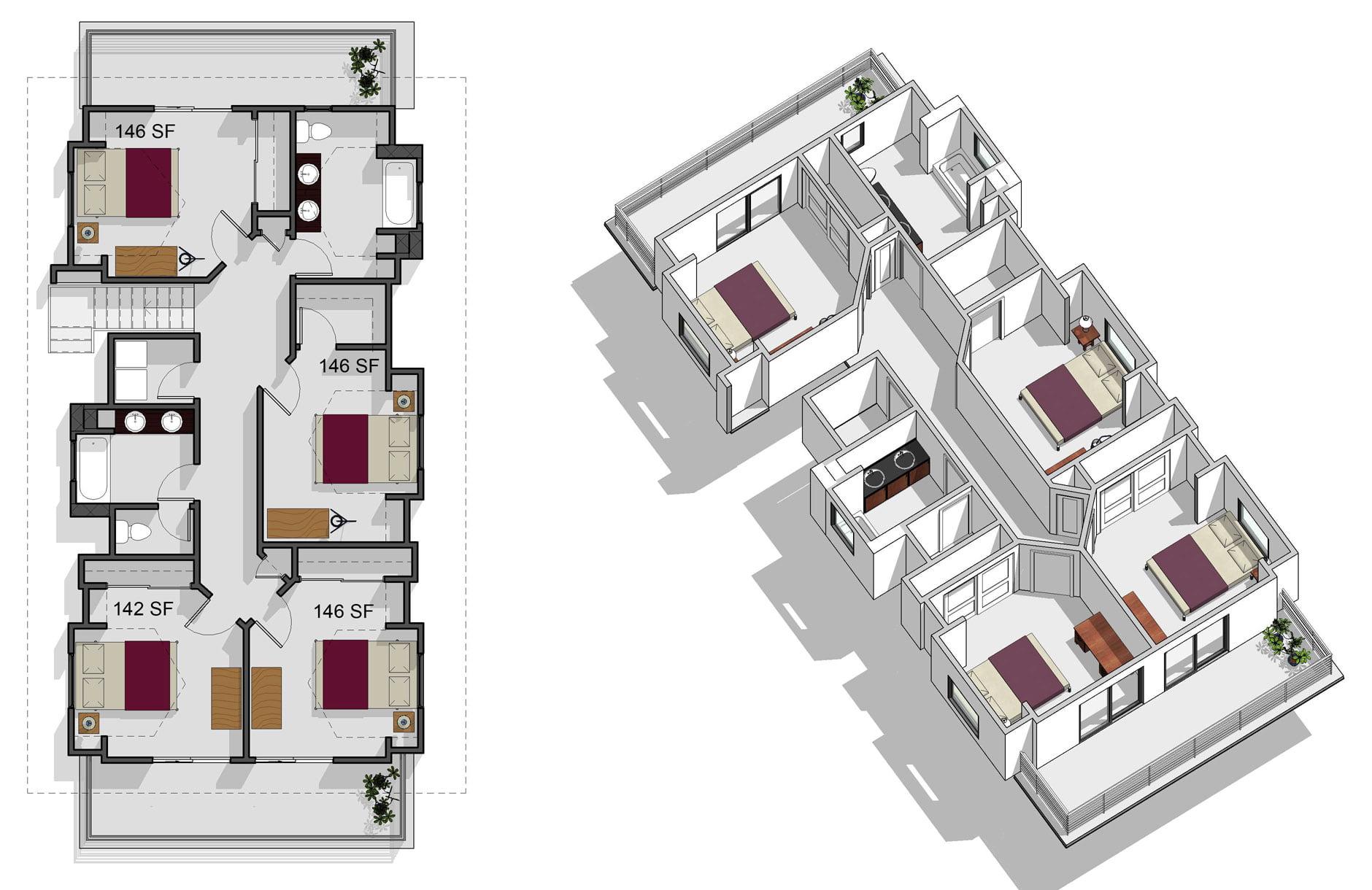 6 bedroom, 3 bathroom, second floor